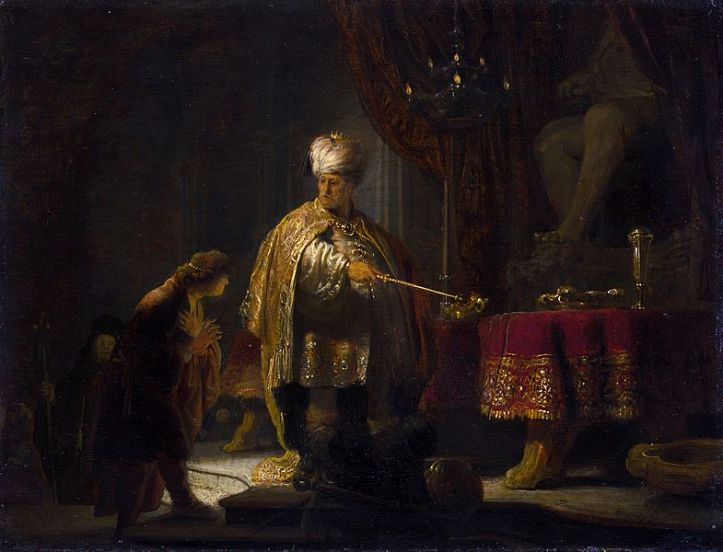 785px-Rembrandt_-_Daniel_and_Cyrus_before_the_Idol_Bel,_1633