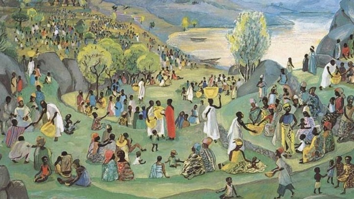 People stand in small groups overlooking a lake as the disciples pass out bread from large baskets carried on their heads. The figures are Black.