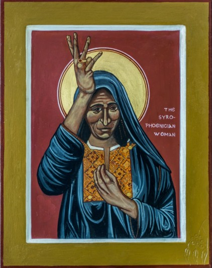 an icon of the Canaanite woman, wearing blue