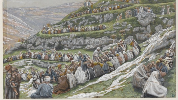 a water color painting of thousands of people sitting in a line, terraced over a hills