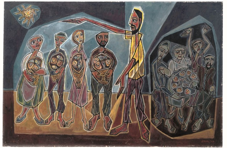 copyright Trustees for Methodist Church Purposes; shows a brown-skinned Jesus holding his arms over four people--two women and two men--carrying baskets of bread. Behind him are other figures sharing a large basket.